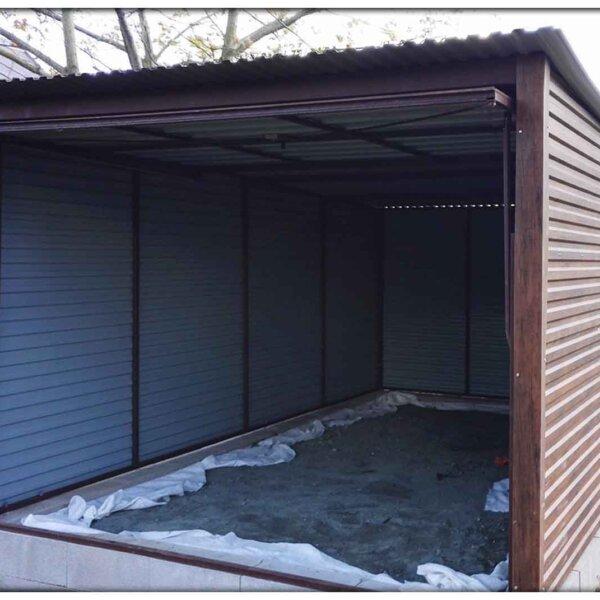 Plechová garáž 3x5 so spádom strechy dozadu Orech Mat