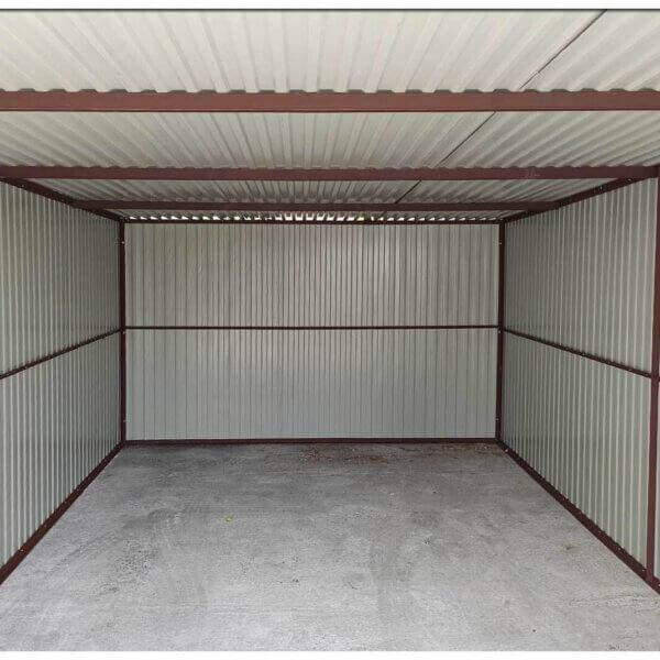 Plechová garáž 3x5 so spádom strechy dozadu Pozink