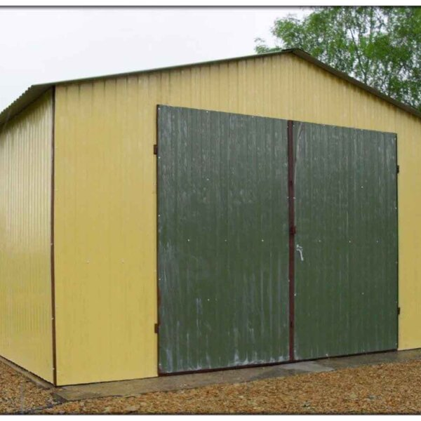 Plechová garáž 4x6 sedlová strecha RAL 1002