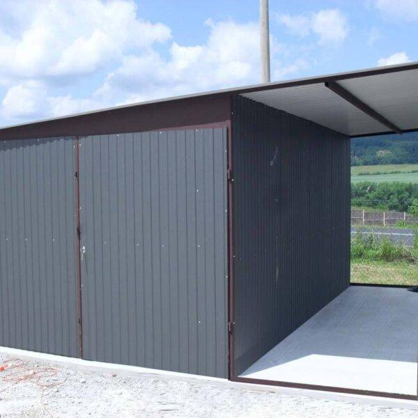 Plechová garáž 3x5 so spádom na bok farba RAL BTX 7024