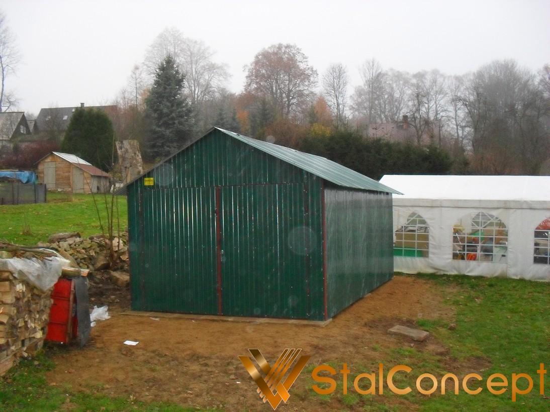 Plechová garáž 4x6 sedlová strecha RAL6005