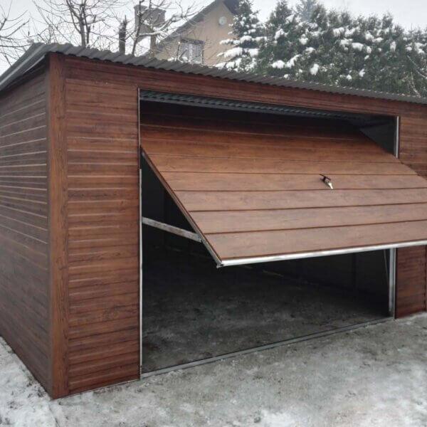 Plechová garáž 4x6 so spádom strechy dozadu Orech Mat