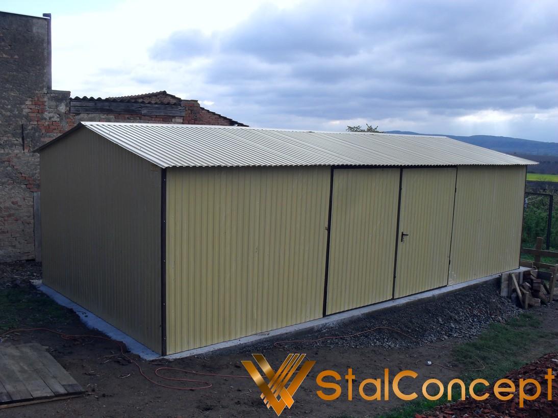 Plechová garáž 4x7 sedlová strecha RAL 1002