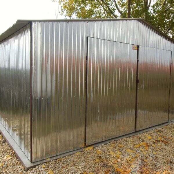 Plechová garáž 5x5 sedlová strecha Pozink