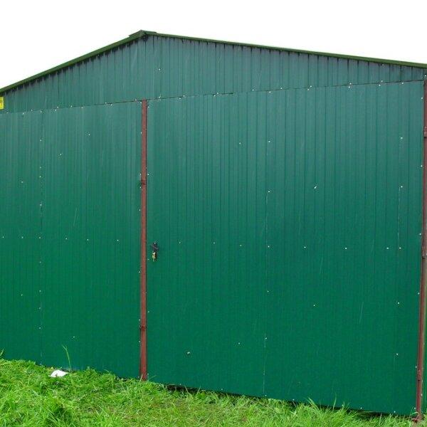 Plechová garáž 5x7 sedlová strecha RAL6005