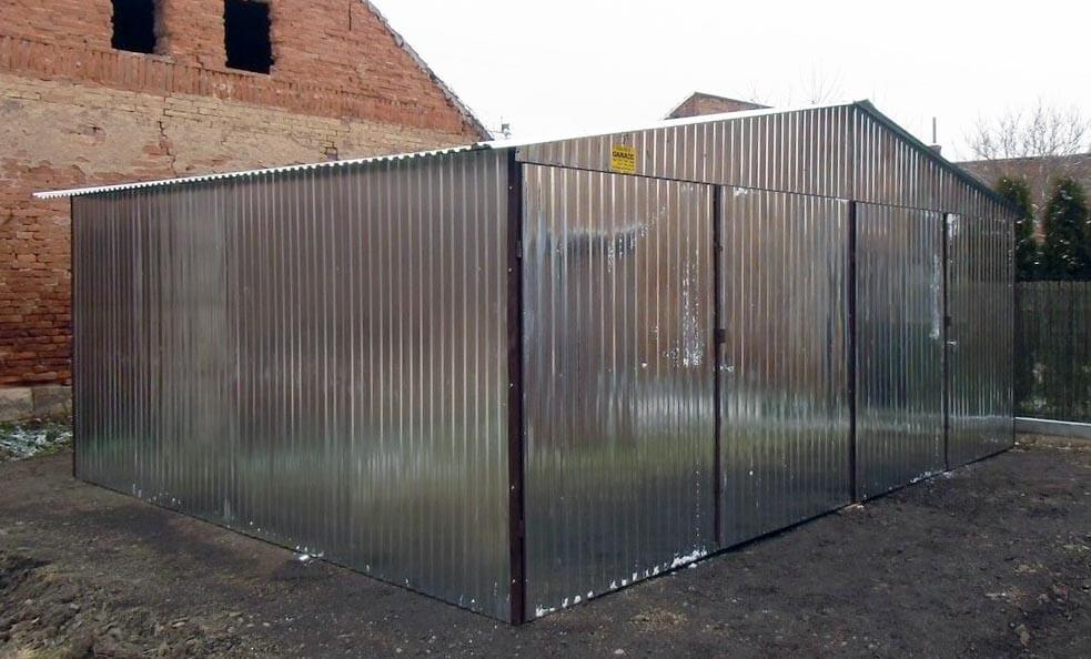 Plechová garáž 6x5 sedlová strecha Pozink