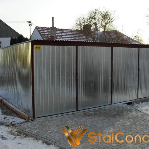 Plechová garáž 6x5 so spádom strechy dozadu Pozink
