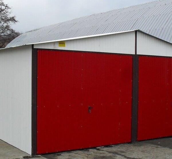 Plechová garáž 6x6 sedlová strecha RAL 9010