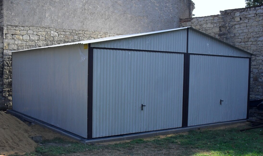 Plechová garáž 6x6 sedlová strecha RAL 7035