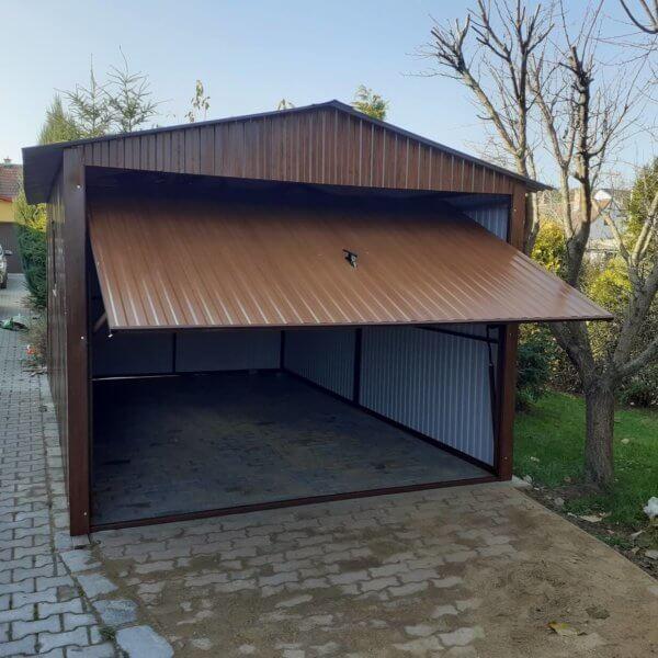Plechová garáž 3×5 sedlová strecha tmavý orech