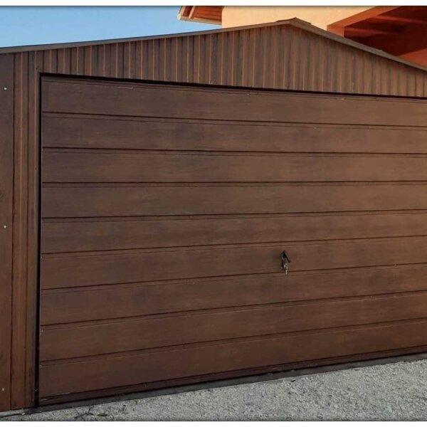 Plechová garáž 4×6 sedlová strecha orech mat