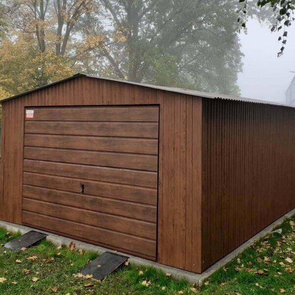 Plechová garáž 4x6 sedlová strecha Orech Mat