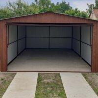 Podklad garáže, Plechová garáž na betónových pätkách