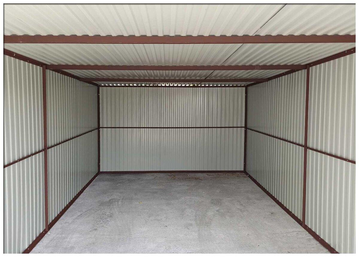 Plechová garáž 3×5, Čierna Mat so spádom strechy dozadu: