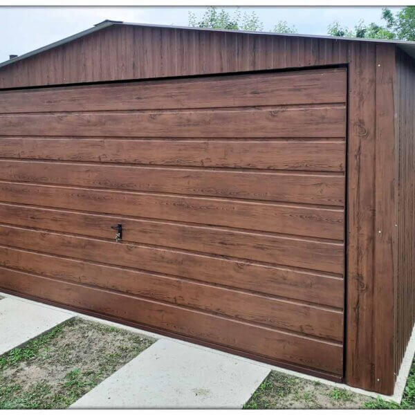 Plechová garáž 4x6 matný orech